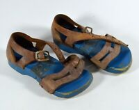 RARE Antique Child's Hinged Wooden Sandals, Leather Straps Patent No. 1433210