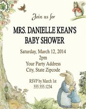 Peter Rabbit Beatrix Potter Baby Shower or Birthday Party Invitations Custom