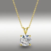 2.0 Ct Round Brilliant Cut Pendant 16+2 Solid 14k Yellow Gold Solitaire Necklace