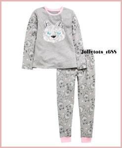 V By Very Girls Grey Pyjama Set 2 Piece Wolf Print Long Sleeved P.J's BNWT