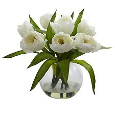 Nearly Natural 4535-WH Tulips Arrangement with Vase NEW
