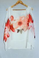 FRANK LYMAN Plus Size 20 White Floral Designer Sheer Overlay Flowy Tunic Top