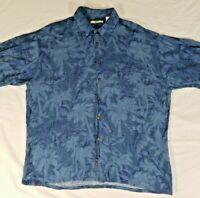 Campia Moda Blue Hawaiian Textured 100% Rayon Short Sleeve Shirt Men's XL Aloha
