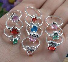 10PCS wholesale Fashion 925 Child Multicolor zircon mix size ring K795