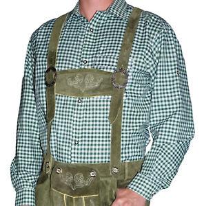 Men Casual Dress GREEN WHITE Striped Shirt German Lederhosen Oktoberfest M L XL