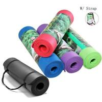 "Extra Thick Non-slip Yoga Mat Pad Exercise Fitness Pilates w/ Strap 72"" x 24""x10"