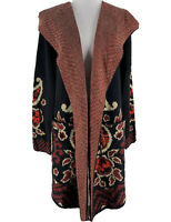 Vertigo Women's Black Combo Paisley Hooded Cardigan Sweater Coat Size Small NEW