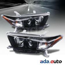 2011-2013 Toyota Highlander [Factory Style] Black Headlights Lamps Set