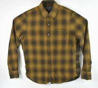 Vince Mens Flannel Plaid Button Down Shirt Size L Brown Check Pattern EUC