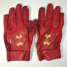 Men's Under Armour Red and Gold Yard Batting Gloves XL