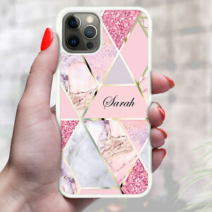 Personalised Marble Phone Case Cover For Apple Samsung Initial Name - Ref Z13