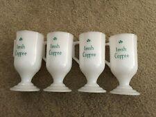 Set of 4 Vintage Federal Milk Glass Irish Coffee Mugs