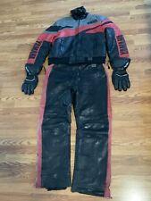 Vintage YAMAHA Leather Snowmobile Snow suit Bib set Sz Lg. Classic! Black & Red!