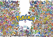 POSTER A4 PLASTIFIE-LAMINATED(1 FREE/1 GRATUIT)*VIDEO GAME ALL POKEMON PIKACHU.2