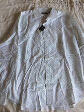 Men's Blue & White Check  Long Sleeve Smart Casual Shirt by Topman Xl