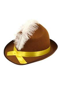 Adults Oktoberfest Bavarian Beer Festival Hat With White Feather [One Size]