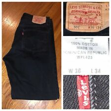 Levi's 501XX Men's Denim Button Fly Black Straight Leg Jeans Size 36 X 32