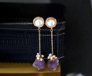 New Natural Stone Handmade Purple Long Earrings , healing stone