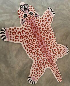 Pink Leopard Skin Shape 4x6 ft' Handmade Tufted 100% woollen Rugs