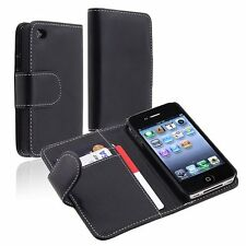 For Apple iPhone 4 4S Leather Flip Credit Card ID Wallet Case Cover Black New