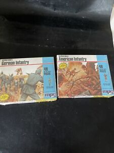 2 HO scale world war one German and American infantry war figures Dated 1983
