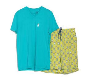 Psycho Bunny Men's Blue S/S V-Neck Shirt & Green Woven Short Lounge Set Gift Box