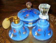 VINTAGE CZECH ENCASED GLASS 3 PC DRESSER VANITY PERFUME SET HP FLORAL DESIGN