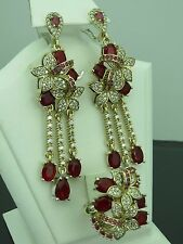 Turkish Handmade Jewelry 925 Sterling Silver Ruby Stone Ladies' Earring Set
