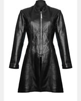 Ladies Black Leather Steampunk Style Trench Coat