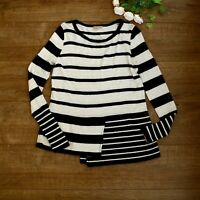 Phase Eight Black & White Striped Jumper Size 8 Long Sleeve Asymmetric Soft Wool
