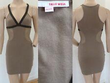 Tally Weijl Kleid Stretchkleid Sommer Party Sexy Mini Träger Netz Grün XS