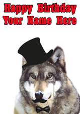 Birthday Greeting Card NEW BIRTHDAY Wolf Jumping  Positive Advice From Thoreau