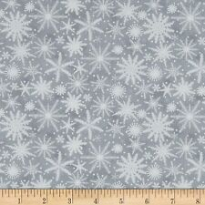 Christmas Fabric - Holiday Wishes White Snowflakes on Gray - Henry Glass YARD