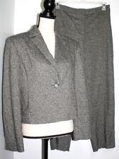 Valerie Stevens Collection Womens 8P 10P Pant Suit Wool Silk Blend Black Heather