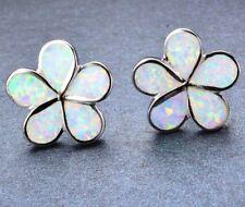 Beautiful 925 Sterling Silver White Fire Opal  Flower Shaped Petal Stud Earrings