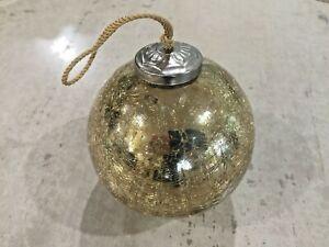 "Gold Crackle Glass 3 1/2"" Kugel Ball Ornament"