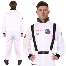 ADULTS ASTRONAUT COSTUME US SPACE SUIT SPACEMAN FANCY DRESS WHITE JUMPSUIT MENS