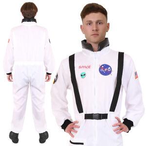 ADULTS ASTRONAUT COSTUME US SPACE SUIT SPACEMAN FANCY DRESS WHITE JUMPSUIT MENS