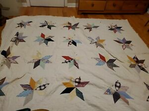 "Vintage Patchwork Quilt - Stars - Cutter - 76"" by 88"""