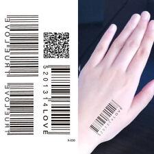 Water Transfer Barcode Waterproof Temporary Tattoo Sticker Body Art CC K0
