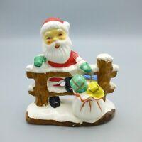 Vintage Ceramic Santa Claus on Fence Christmas Figurine Japan Putz Small 3.75in