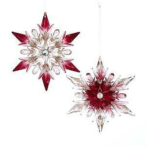 Set of 2  Burgundy and Pink Snowflake With Glitter Ornaments w