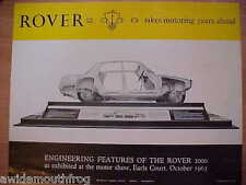 Rover (P6) 2000 1963 Earls Court Promotional Sales Sheet Engineering Features