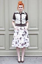 MD Femmes rock skirt white Blanc Marron Brown 80´s true vintage women 80er women