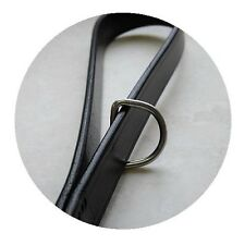 Audenham English Bridle Leather Long Lead Black 115cm Stainless Steel