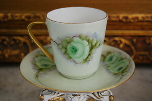 WONDERFUL HUTSCHENREUTHER GERMANY HP GREEN ROSES CABINET COFFEE CUP AND SAUCER