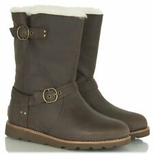 UGG® AUSTRALIA NOIRA BROWN LEATHER & SHEEPSKIN BOOTS UK 3.5 EUR 36 US 5 RRP £235