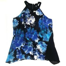t tahari high neck sleeveless floral black blue asymmetrical top tunic sz large