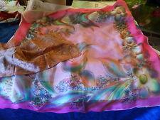 lot 2    foulards roses soie dont un de doublée voile