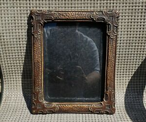 c1920 Excellent Arts Crafts Tudor Gothic Pressed Leather Style 7 1/2 x 9 Frame